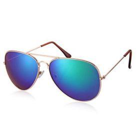 Sluneční brýle pilotky modro-zelené zrcadlové - zlatý rám