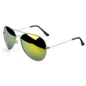 Sluneční brýle pilotky zelené zrcadllové - stříbrný rám