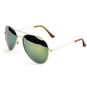 Sluneční brýle pilotky zelené zrcadlové - zlatý rám