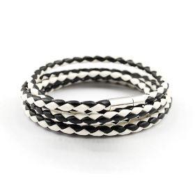 Kožený pletený náramek - černo-bílý