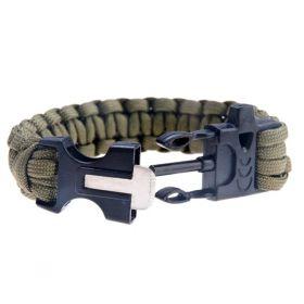 Army náramek s píšťalkou a křesadlem - khaki
