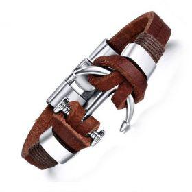 Pánský kožený náramek Kotva