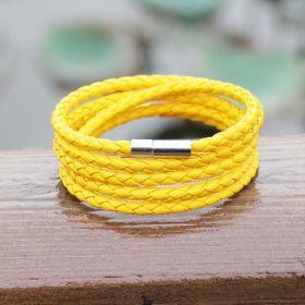 Kožený pletený náramek žlutý