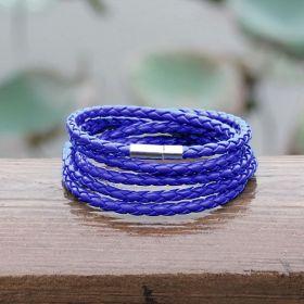 Kožený pletený náramek modrý