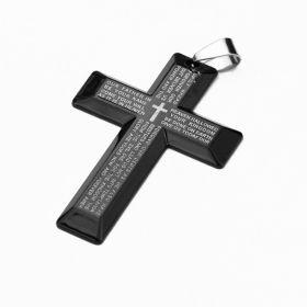 Přívěsek z chirurgické oceli kříž Lee černý