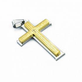 Ocelový přívěšek Křížek Calvo zlatý