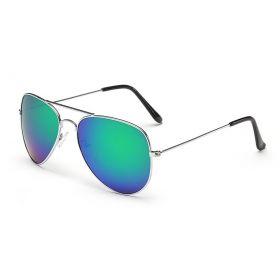 Sluneční brýle pilotky modro-zelené zrcadlové - stříbrný rám