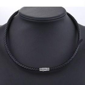 Kožený splétaný náhrdelník - 6mm