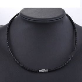 Kožený splétaný náhrdelník 55cm - 4mm