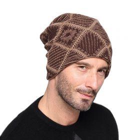 Pánská zimní čepice Knitted hnědá