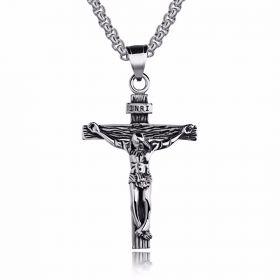 Přívěsek z chirurgické oceli - Ježíš na kríži