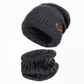 Zimní set 2v1 nákrčník a čepice - Tmavě šedý