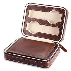 Úložný box na hodinky 4 komor Hnědý