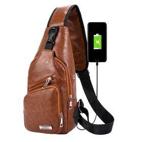 Jinman taška přes hruď a crossbody s USB Hnědá