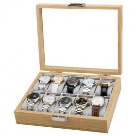 Box na hodinky 10 komor dřevěný Hnědý