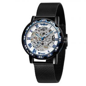 Winner mechanické hodinky Diomond Black JS22