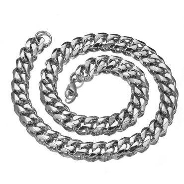 Řetízek z chirurgické oceli Masive Cuban Silver-11 mm/ 50-60cm