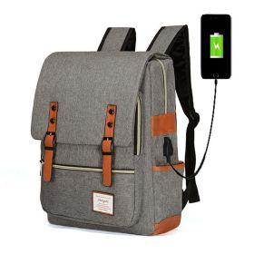 RETRO Textilní batoh s USB portem Šedý