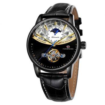 FORSINING pánské automatické hodinky Moonlight 9M3B1 Černé