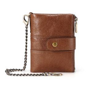 Pánská kožená peněženka s řetízkem Cheeky - Tmavě hnědá