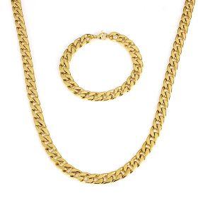 Sada z chirurgické oceli Masive Cuban Gold / řetízek a náramek 11mm