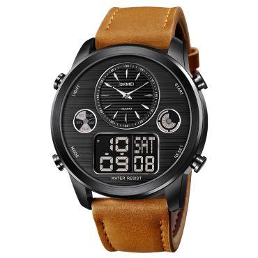 SKMEI 1653 duální hodinky Big Face Černo hnědé