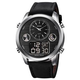 SKMEI 1653 duální hodinky Big Face Černo stříbrné