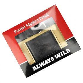 Wild pánská dárková sada s páskem Buffalo Černá