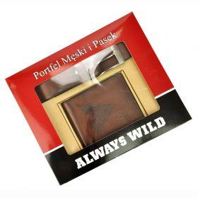 Wild pánská dárková sada s páskem Buffalo Hnědá